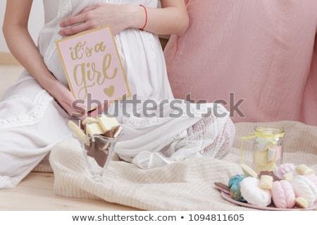 happy pregnant woman, baby shower card Stock photo © balasoiu