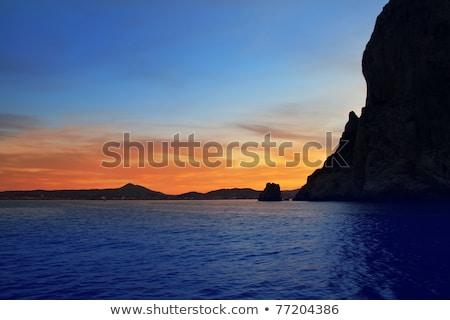 Stock fotó: Kék · piros · naplemente · tengerpart · mediterrán · tenger