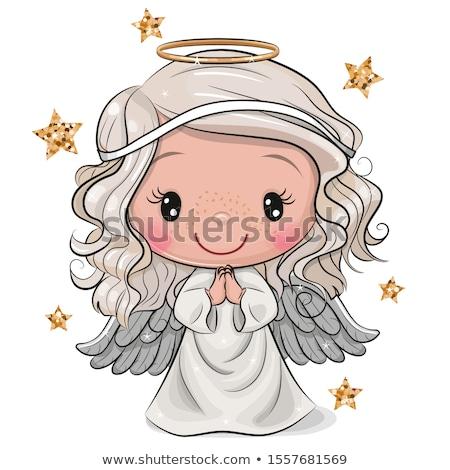 Foto stock: Cute · nina · ángel · ilustrado · alas · sucio