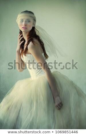 Nő kalap fátyol fűtő fiatal nő fekete Stock fotó © courtyardpix