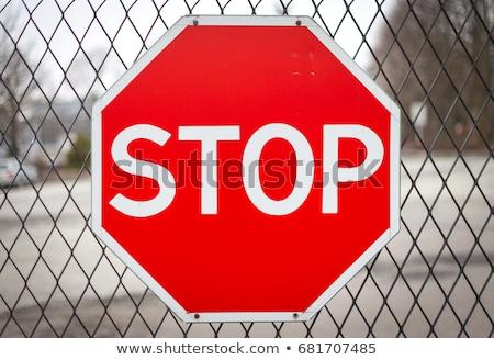 nem · felirat · kerítés · építkezés · kék · ég · építkezés - stock fotó © prg0383