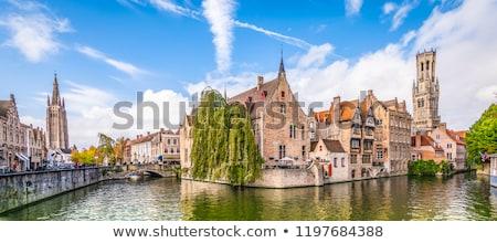 Kerk historische architectuur België blauwe hemel wolken Stockfoto © jenbray