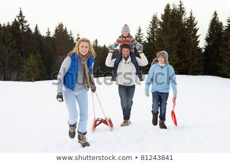 kadın · adam · kış · kar · yürümek - stok fotoğraf © monkey_business