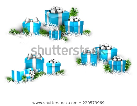 três · natal · caixas · de · presente · isolado · branco · papel - foto stock © karandaev