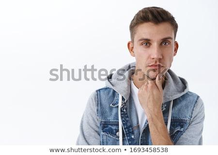 jóképű · férfi · néz · kamera · felfelé · néz · komoly · szexi - stock fotó © stryjek