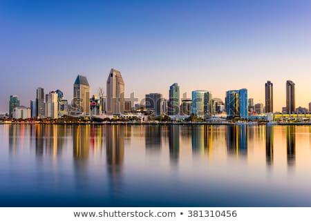San Diego şafak ışık imzalamak gündoğumu kırmızı Stok fotoğraf © aspenrock
