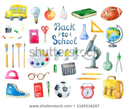 Stock photo: Sketch backpack, watercolors, football ball, book and notebook