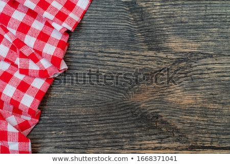 Stock Photo: Red And White Checkered Tablecloth