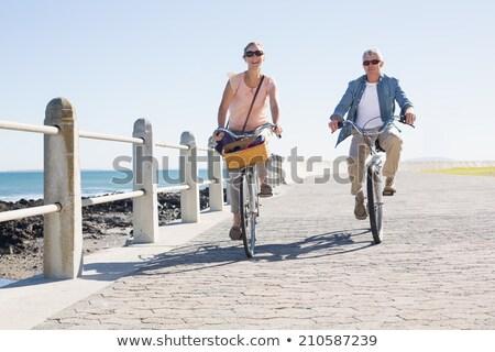 Hombre bicicleta equitación silueta Foto stock © dariazu