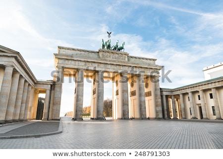 kilátás · Berlin · hajnal · épület · kereszt · fém - stock fotó © claudiodivizia