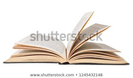 Open oud boek witte geïsoleerd papier school Stockfoto © Valeriy