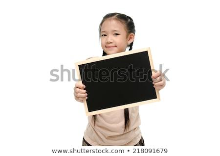 Zdjęcia stock: Szczęśliwy · dziewczynka · tablicy · ludzi · reklama · edukacji