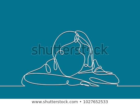 Cartoon attraente ragazza bolla di pensiero donna mano design Foto d'archivio © lineartestpilot