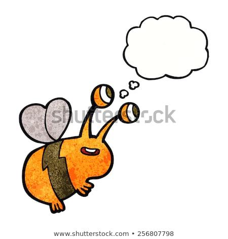 feliz · abelha · desenho · animado · ilustração · flor - foto stock © lineartestpilot