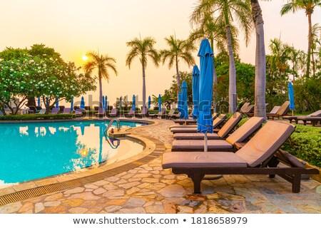 Ligstoel zwembad lege kristal Blauw zwembad Stockfoto © Hofmeester