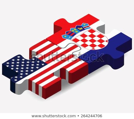 США Хорватия флагами головоломки вектора изображение Сток-фото © Istanbul2009