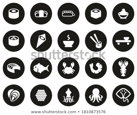 Stock photo: Flat Big Food Sushi Set Circle Icons