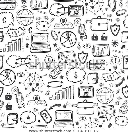 Photo stock: Portable · échange · doodle · icône · excellente · eps