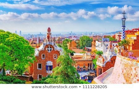 Barcelona urbanas paisaje histórico casas catedral Foto stock © rognar