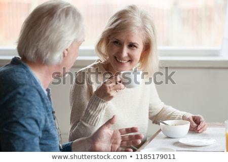 пожилого · пару · завтрак · счастливым · кухне · улыбаясь - Сток-фото © paha_l