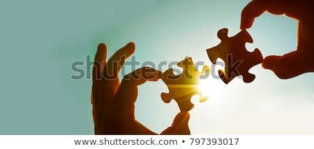 negócio · silhueta · ensolarado · céu · reunião · sol - foto stock © Paha_L
