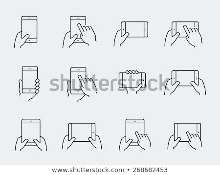 Ekran dotykowy tabletka line ikona internetowych komórkowych Zdjęcia stock © RAStudio