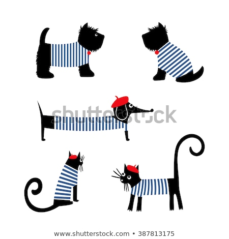 Illustration of cat dressed as french character Stock photo © gigi_linquiet