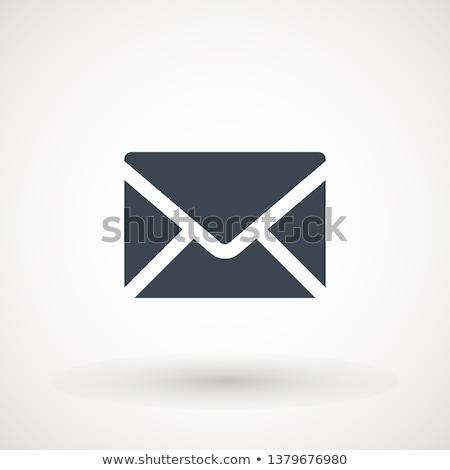 Umschlag · blau · isoliert · weiß · Büro · Papier - stock foto © zeffss