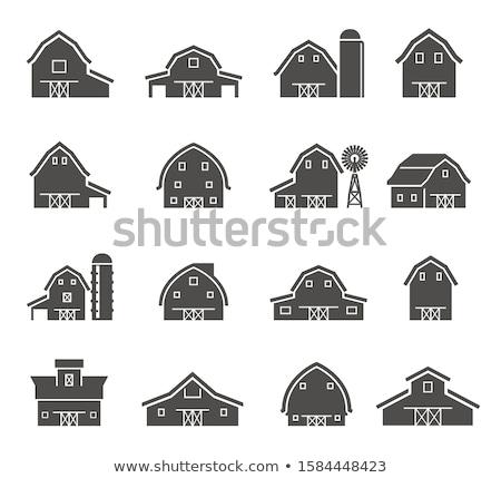 Foto d'archivio: Farm · fienile · casa · bianco · nero · illustrazione · set