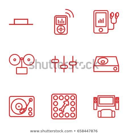 Mp3 player linha ícone teia móvel Foto stock © RAStudio