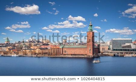 város · előcsarnok · Stockholm · jég · építészet · torony - stock fotó © mikdam