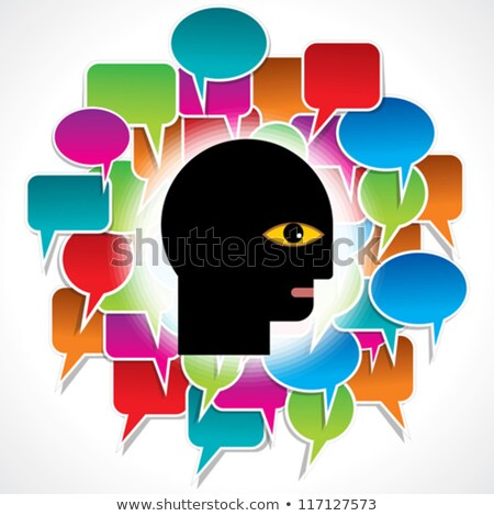 Speech bubble inside a human head silhouette Stock photo © adrian_n