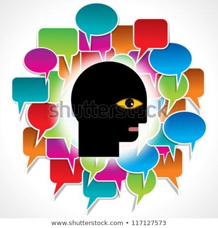 speech bubble inside a human head silhouette stock photo © adrian_n