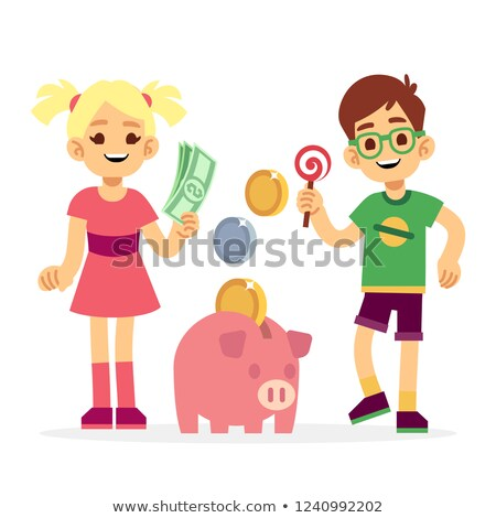 mosolyog · fiú · tart · rózsaszín · disznó · pénz - stock fotó © lovleah