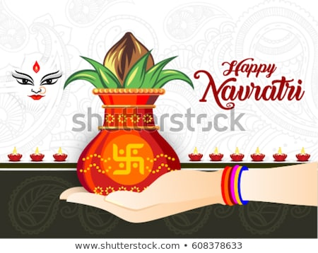 abstract artistic golden navratri kalash background Stock photo © pathakdesigner