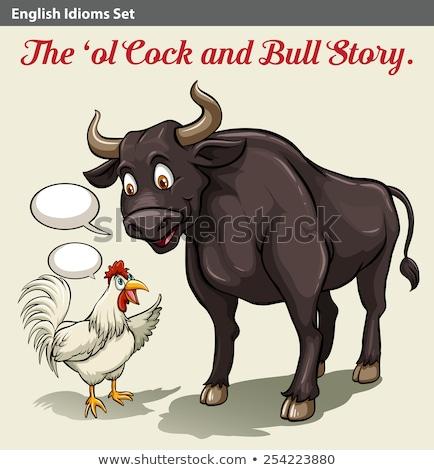 Haan stier verhaal ontwerp grafische cartoon Stockfoto © bluering