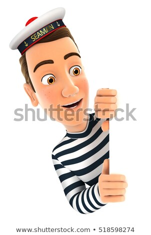 3d seaman peeping over blank wall Stock photo © 3dmask