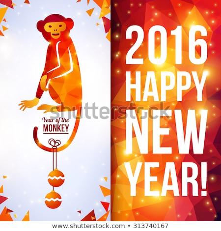 Monkey year 2016. Year of fire monkey. Greeting card on a red ba Stock photo © popaukropa