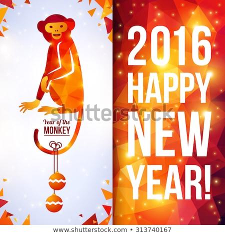 Китайский · Новый · год · 2016 · обезьяны · Cute · смешные · счастливым - Сток-фото © popaukropa