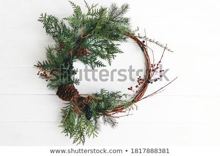 christmas · krans · rustiek · houten · deur · voordeur - stockfoto © smuki