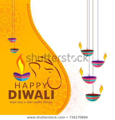 Hermosa diwali decoración tarjeta de felicitación vela lámpara Foto stock © SArts