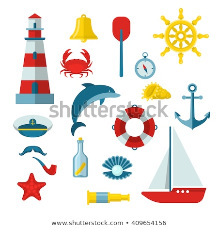 Stock photo: Vector set of color ship with sails for icons.