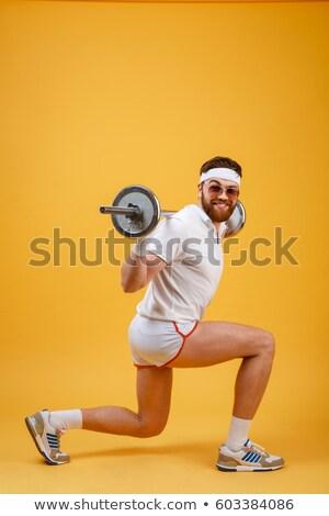 Widok z boku retro fitness człowiek sztanga odizolowany Zdjęcia stock © deandrobot