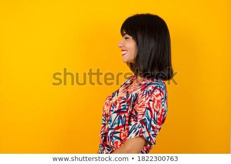 小さな · アジア · 女性 · 立って · 壁 · 画像 - ストックフォト © deandrobot