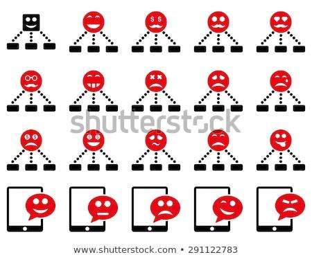 Foto stock: Emoção · hierarquia · sms · ícones · conjunto · estilo