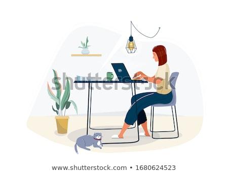 Escritório mulher copo vetor desenho animado ilustração Foto stock © NikoDzhi
