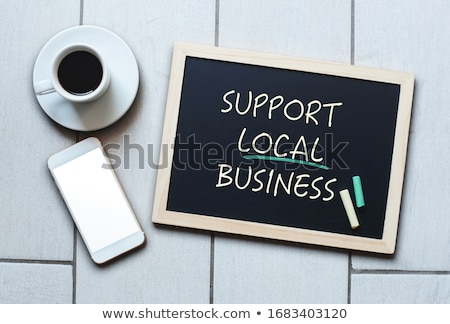 Small Chalkboard with Business Communications Concept. Stock photo © tashatuvango