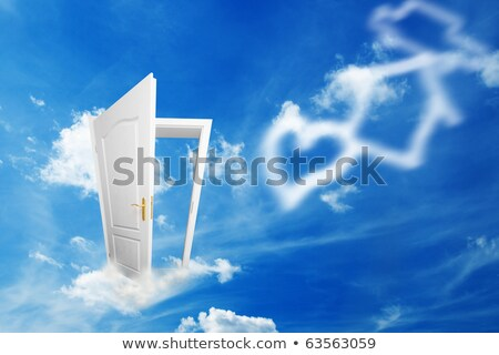 Stock photo: Door to new world. Open door to dreams like heart, home