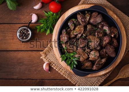 Sültcsirke máj tyúk eszik bárány friss Stock fotó © yelenayemchuk
