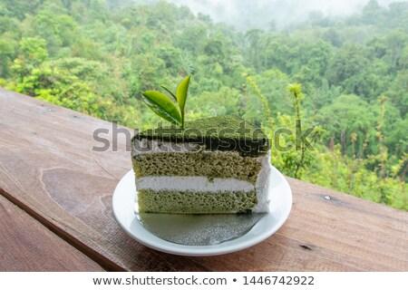 groene · thee · cake · gesloten · omhoog · blad · geïsoleerd - stockfoto © Yongkiet